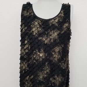 Stlyle & Co Black and Gold sleeveless Top